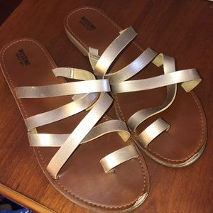 Strapped rose gold sandals